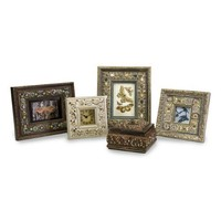 5-Piece Seashell Theme Picture Frames, Clock and Lidded Box Desk Set $164.99