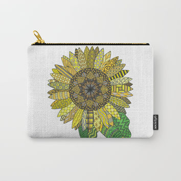 Sunflower Mandala Carry-All Pouch by ninagibson
