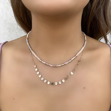 Second Chance Gold Layered Necklace in Pink