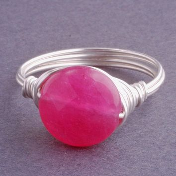 Small Hot Pink Jade Sterling Silver Wire Wrapped by georgiedesigns