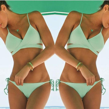 ☀ Happiness is a day at the Beach ☀Criss Cross Bandage Bikini Set Sexy Push Up Swimwear