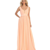 Peach Pleated Chiffon Illusion Deep V-Neck Dress 2015 Homecoming Dresses