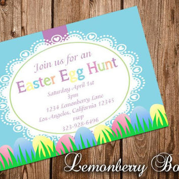 Easter Egg Hunt Invitations 4x6 picture paper. See description.