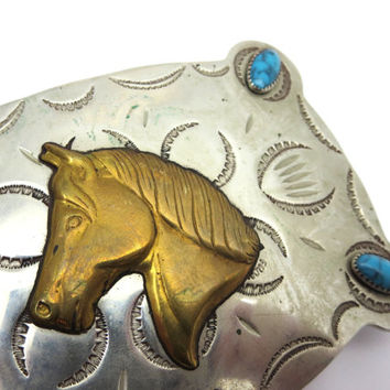 Silver Horse Buckle - Nickel Silver Faux Turquoise Brass Equestrian Western Belt Frontier Buckle
