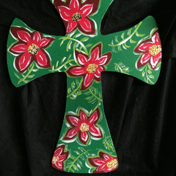 Christmas poinsettia cross Christmas cross Gifts for Christmas Poinsettia cross Green Red flower cross © JackJack's Wayart