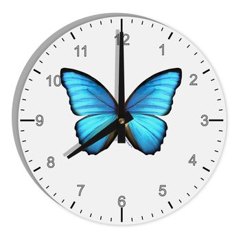 """Morpho Butterfly 8"""" Round Wall Clock with Numbers"""