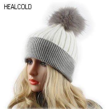 Winter Wool Hats For Women Fur Pompom Hat Ladies Real Raccoon Fur Ball Knitted Cashmere Beanies Cap