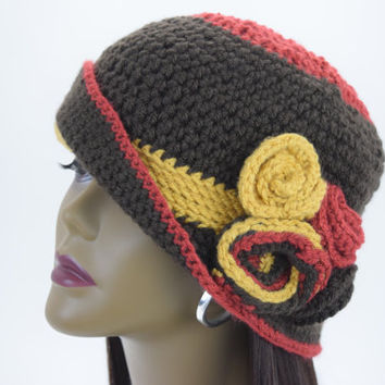 Stunning  Vintage Style Hand Crochet  Cloche Flapper Hat with Fusion Flower/Cloche Hat/ Dark Brown  , Yellow & Red