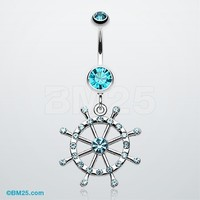 Classic Boat Anchor Wheel Belly Button Ring