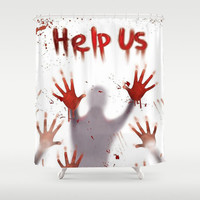 Help Me Horror Halloween Shower Curtain