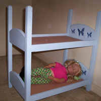 Handmade doll Bunkbed made for American Girl 18 inch size doll  light blue with dark blue butterfly