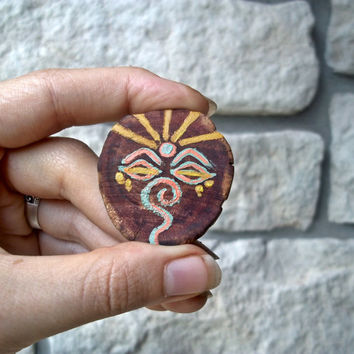 Mint Chakra Brooch / Third Eye / Buddha Eyes / Wood Jewelry