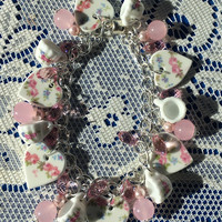 Lady Katherine China Hearts Tea Cups Quartz and Crystals Bracelet