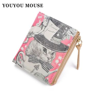 New Arrival Korean style PU Leather Women Wallet Lovely Graffiti Printing Wallets Ladies Clutch Short Coin Purse Card Holder