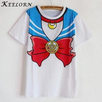 VONE2B5 Keelorn 2016 new Hot Sailor moon harajuku t shirt women cosplay costume top kawaii fake sailor t shirts girl new Free Shipping