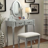 ADRIANA Transitional Vanity, Silver