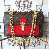 LV hot selling printed patchwork color wine god shoulder bag fashionable lady shopping bag Coffee print+Red