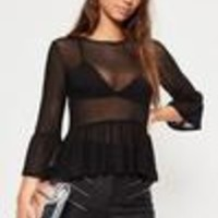 Missguided - Black Mesh Frill Peplum Long Sleeved Top