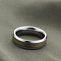 High Polished Wood Inlay Tungsten Carbide Ring - 8MM