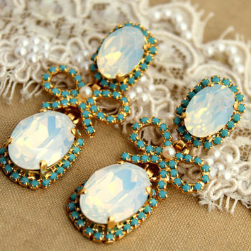Chandelier turquoise Crystal pearls and bow's bridal jewelry - 14 k plated gold earrings real Swarovski opal and turquoise crystals .