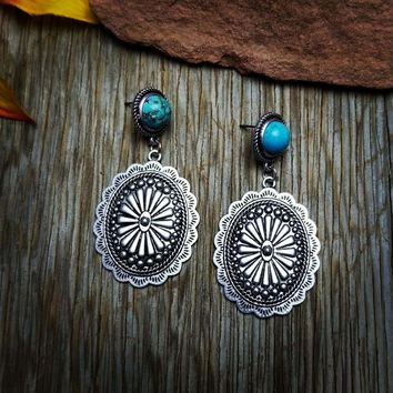Silver Concho Turquoise Earrings