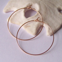 Gold Hoop Earrings - MEDIUM 1.5 inch Hoops- Choose Rose Gold Filled or Yellow Gold Filled or Sterling Silver - Smooth or Hammered