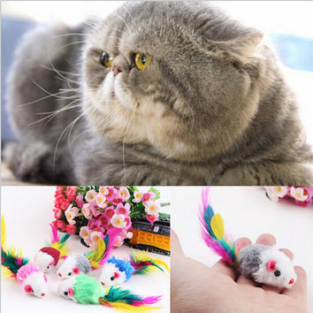 Cat toy cat with colored tail Plush mouse cat toys