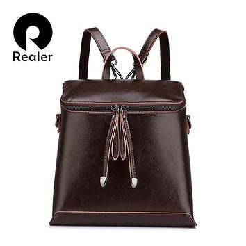 REALER brand women backpack vintage oil wax cow split leather backpack female school bags for teenagers girls shoulder bag
