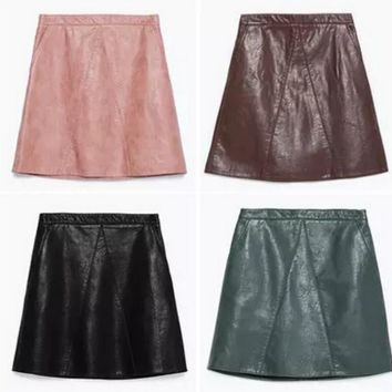 The new high waist zipper stitching PU leather skirt leather skirt A word skirt skirts