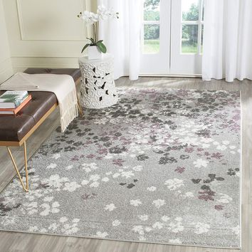 0104 Gray Purple Abstract Contemporary Area Rugs