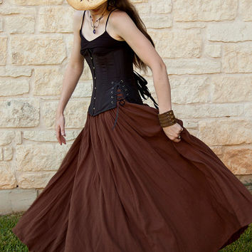Brown Cotton Gauze Long Renaissance Skirt