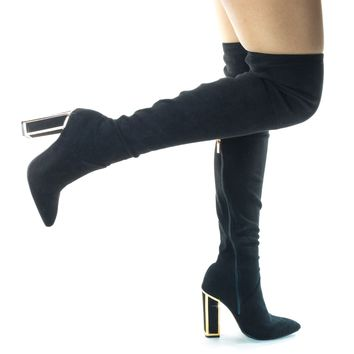 Illusion02 Metal Framed Block Heel Boots, Thigh High Over Knee Dress Shoes