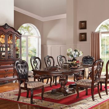 7 pc Dorothea collection cherry finish wood tufted back arm chair backs dining table set