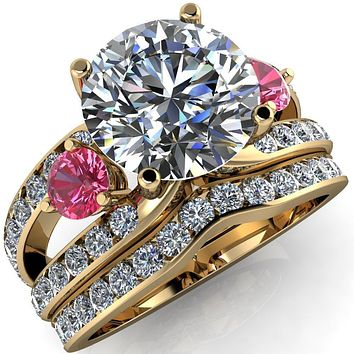 Orion Round Moissanite 2 Round Pink Sapphire Sides Split Shank Diamond Channel Set Ring