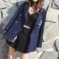 """Chanel"" Women Fashion Weave Badge Embroidery Metal Buttons Tailored Collar Long Sleeve Cardigan Suit Coat"