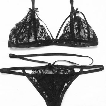 Lingerie Set - Victoria Lace Bralette Black - Strappy lace see through thongs - Women black see through lingerie