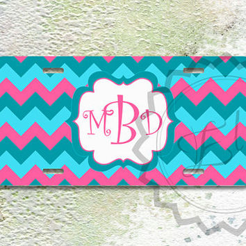 Personalized Teal, Light blue and Hot Pink chevron, Monogrammed License Plate, cute car tag, vanity license plate - 294