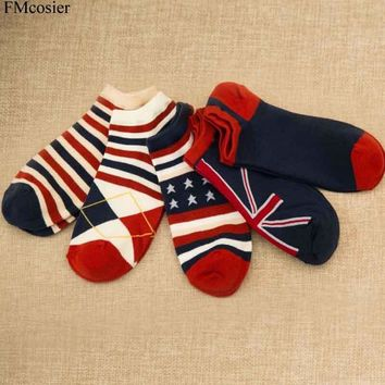 5 Pairs High Quality Spring Summer Women Men England USA Flag Printed Stripe Socks Unisex Cotton Compression Male Breathable sox
