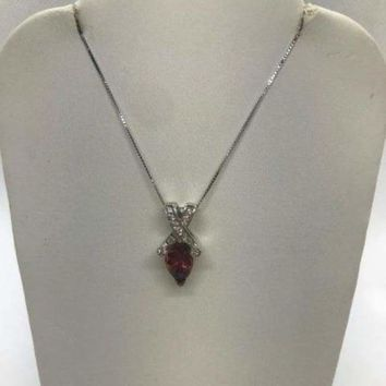 2 Carat Reddish Pink Pear Cut Tourmaline and Diamond Twist Pendant on a Chain Necklace - 14K White Gold by Luxinelle® Jewelry