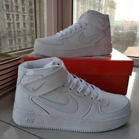 """Nike Air Force 1"" Unisex Sport Casual Letter High Help Plate Shoes Couple Fashion Sneakers"