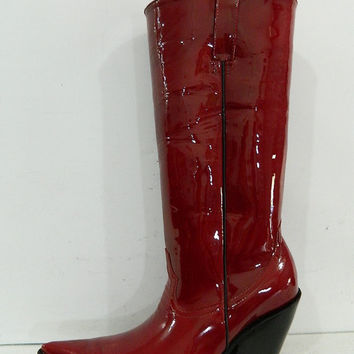 Dark Red patent leather extreme sharp toe cowboy boots 4 inch heels men size 10 stock