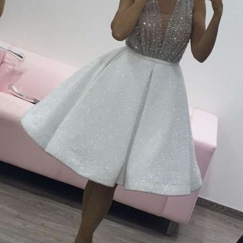 Sexy Beads V Neck Sheer A Line Cocktail Dresses 2017 Off The Shoulder Sparkly Crystal Sleeveless Custom Made Party Dress