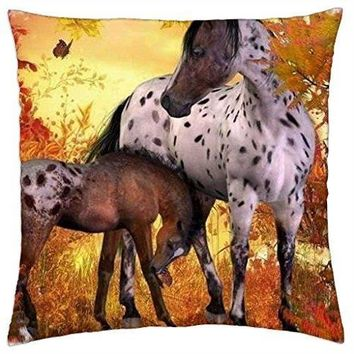 An Appaloosa Mare and Her Foal - Throw Pillow Cover Case (18