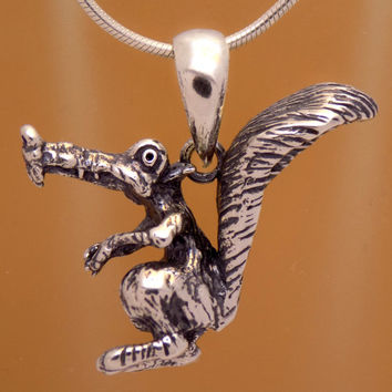 Cool Solid Sterling Silver Funny Design Ice Age Squirrel Charm 3D Pendant 925 Hallmark Children Kid Marvelous Oxidized Handmade Handcrafted