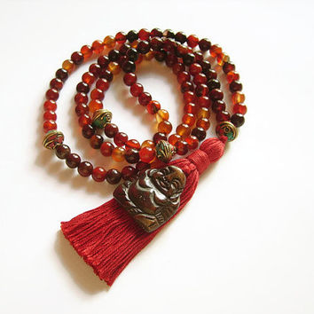 Agate stone 108 mala bead necklace with red cotton tassel and Maitreya Buddha pendant, Autumn jewelry