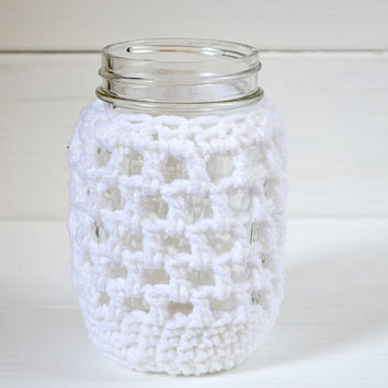 Crochet Mason Jar Cozy 12 oz Mason Jar Cover Crochet Koozie Reusable Cozy Nautical Accessory Knit Cozies Grande Cup Koozies White