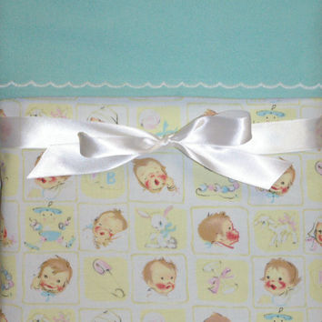 Gender neutral baby blanket retro baby shower new baby gifts baby girl swaddling blanket boy receiving blanket toddler vintage baby fabric