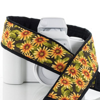 Daisy dSLR Camera Strap, Pocket, Yellow, Orange, Floral, Canon camera strap, Nikon camera strap, 18