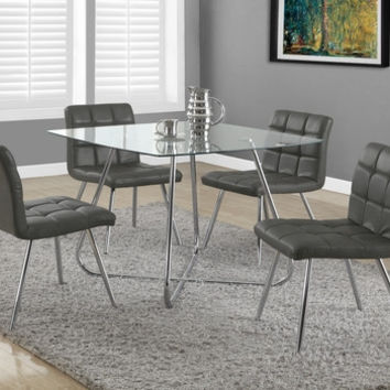 "Grey Leather-Look / Chrome Metal 32""H Dining Chair / 2Pcs"