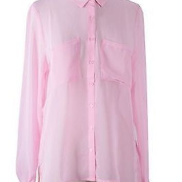 Career Sheer Long Sleeve Hi-Low Hem Button Down Chiffon Shirt Blouse